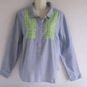 Stylus Blue Stripe Cotton Shirt w/ Neon Green